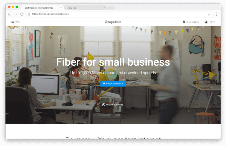 Google Fiber Small Business page